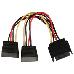 Powertech sata power 15pin male / 2x 15pin female 15pin